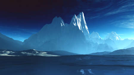antarctica: Antarctica Ice Field and Mountains 3D Illustration Stock Photo