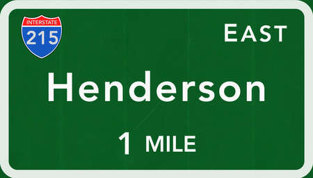 interstate: Henderson USA Interstate Highway Sign Photorealistic Illustration Stock Photo