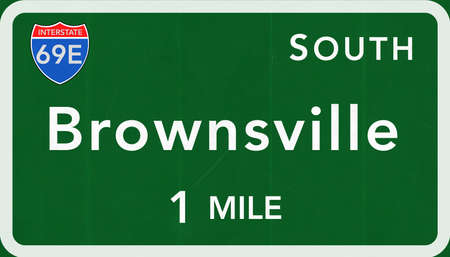 interstate: Brownsville USA Interstate Highway Sign Photorealistic Illustration