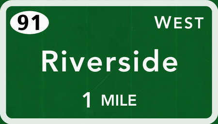 interstate: Riverside USA Interstate Highway Sign Photorealistic Illustration Stock Photo