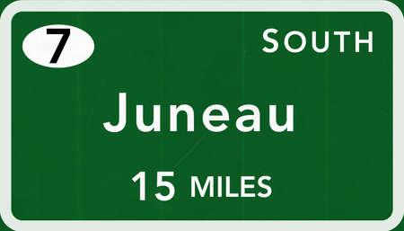 interstate: Juneau USA Interstate Highway Sign Photorealistic Illustration
