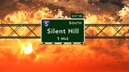 silent: Silent Hill USA Interstate Highway Sign in a Beautiful Cloudy Sunset Sunrise Photorealistic 3D Illustration Stock Photo