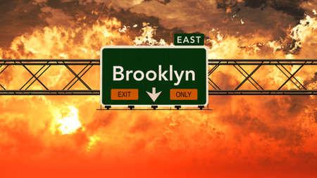 美しい曇り日没日の出写実的な 3 D イラストでブルックリン米国州間幹線道路標識 写真素材