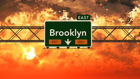 Brooklyn USA Interstate Highway Sign in a Beautiful Cloudy Sunset Sunrise Photorealistic 3D Illustration