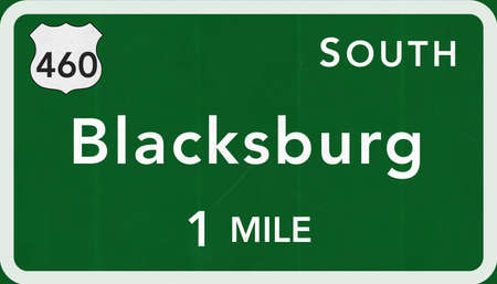 interstate: Blacksburg USA Interstate Highway Sign Photorealistic Illustration