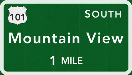 mountain view: Mountain View USA Interstate Highway Sign Photorealistic Illustration