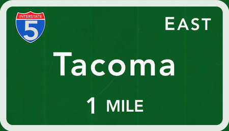 interstate: Tacoma USA Interstate Highway Sign Photorealistic Illustration