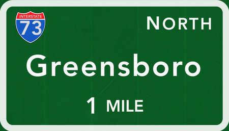 interstate: Greensboro USA Interstate Highway Sign Photorealistic Illustration