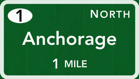 Anchorage USA Interstate Highway Sign Photorealistic Illustration
