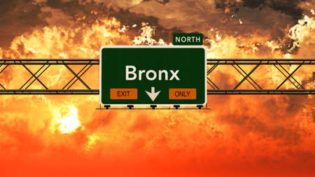 bronx: Bronx USA Interstate Highway Sign in a Beautiful Cloudy Sunset Sunrise Photorealistic 3D Illustration Stock Photo