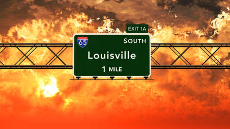 louisville: Louisville USA Interstate Highway Sign in a Beautiful Cloudy Sunset Sunrise Photorealistic 3D Illustration