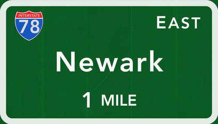 Newark USA Interstate Highway Sign Photorealistic Illustration