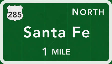 interstate: Santa Fe USA Interstate Highway Sign Photorealistic Illustration Stock Photo