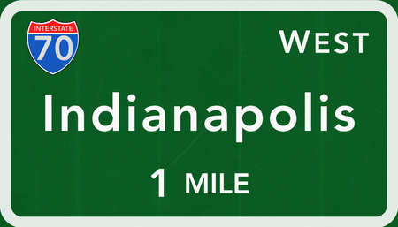 indianapolis: Indianapolis USA Interstate Highway Sign Photorealistic Illustration Stock Photo