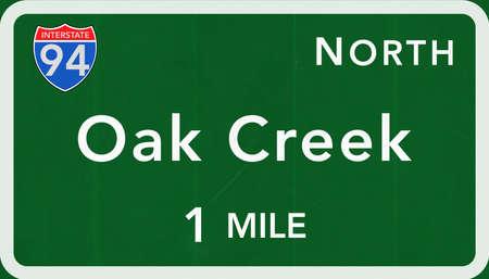 Oak Creek USA Interstate Highway Sign Photorealistic Illustration Stock Photo