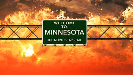 breathtaking: Welcome to Minnesota USA Interstate Highway Sign in a Breathtaking Cloudy Sunset Photorealistic 3D Illustration