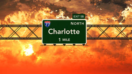 charlotte: Charlotte USA Interstate Highway Sign in a Beautiful Cloudy Sunset Sunrise Photorealistic 3D Illustration