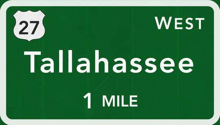 tallahassee: Tallahassee USA Interstate Highway Sign Photorealistic Illustration Stock Photo