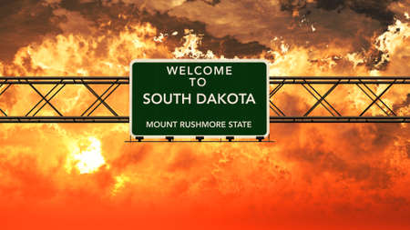 breathtaking: Welcome to South Dakota USA Interstate Highway Sign in a Breathtaking Cloudy Sunset Photorealistic 3D Illustration