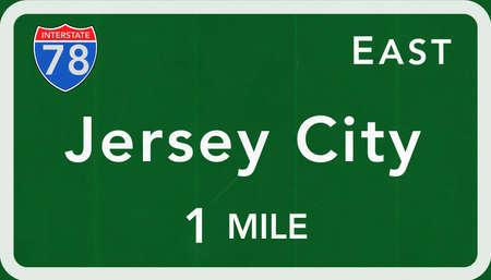 jersey city: Jersey City USA Interstate Highway Sign Photorealistic Illustration