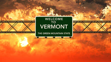 breathtaking: Welcome to Vermont USA Interstate Highway Sign in a Breathtaking Cloudy Sunset Photorealistic 3D Illustration