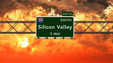 silicon: Señal de Silicon Valley EE.UU. autopista interestatal en un nublado Ilustración Hermosa Sunrise Sunset 3D fotorrealistas