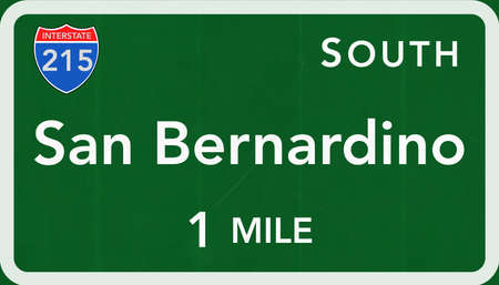 interstate: San Bernardino USA Interstate Highway Sign Photorealistic Illustration