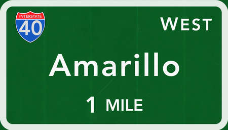 Amarillo USA Interstate Highway Sign Photorealistic Illustration