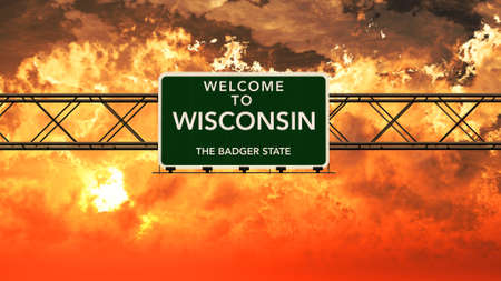 breathtaking: Welcome to Wisconsin USA Interstate Highway Sign in a Breathtaking Cloudy Sunset Photorealistic 3D Illustration