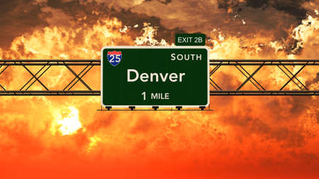 denver at sunrise: Denver USA Interstate Highway Sign in a Beautiful Cloudy Sunset Sunrise Photorealistic 3D Illustration Stock Photo
