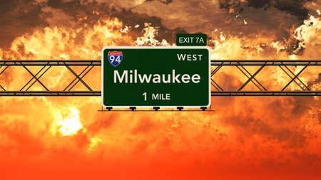 milwaukee: Milwaukee USA Interstate Highway Sign in a Beautiful Cloudy Sunset Sunrise Photorealistic 3D Illustration