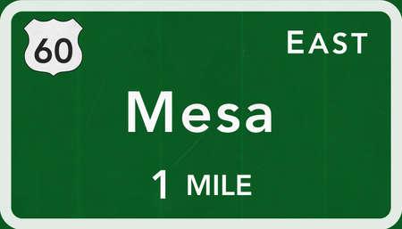 Mesa USA Interstate Highway Sign Photorealistic Illustration
