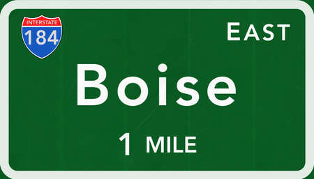 interstate: Boise USA Interstate Highway Sign Photorealistic Illustration Stock Photo