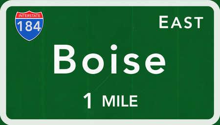 Boise USA Interstate Highway Sign Photorealistic Illustration Stock Photo