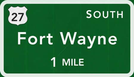 Fort Wayne USA Interstate Highway Sign Photorealistic Illustration Stock Photo