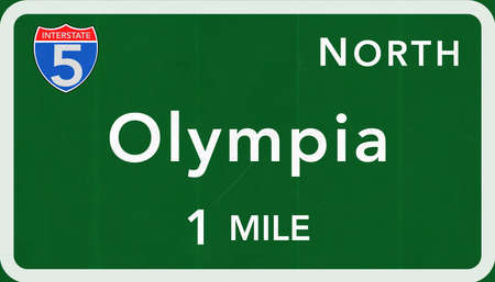 interstate: Olympia USA Interstate Highway Sign Photorealistic Illustration