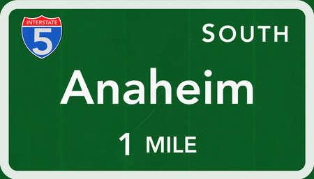 Anaheim USA Interstate Highway Sign Photorealistic Illustration Stock Photo
