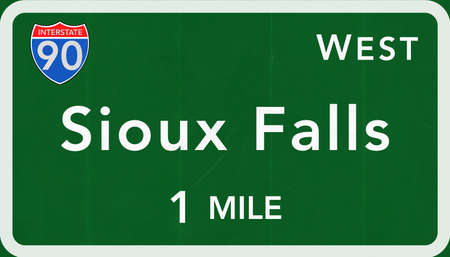 sioux: Sioux Falls USA Interstate Highway Sign Photorealistic Illustration Stock Photo