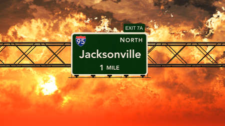 jacksonville: Jacksonville USA Interstate Highway Sign in a Beautiful Cloudy Sunset Sunrise Photorealistic 3D Illustration