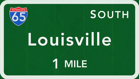 louisville: Louisville USA Interstate Highway Sign Photorealistic Illustration
