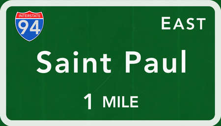 paul: Saint Paul USA Interstate Highway Sign Photorealistic Illustration