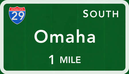 interstate: Omaha USA Interstate Highway Sign Photorealistic Illustration Stock Photo