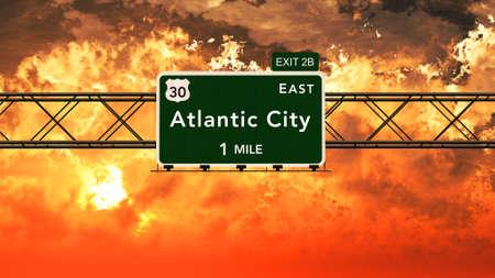 atlantic city: Atlantic City USA Interstate Highway Sign in a Beautiful Cloudy Sunset Sunrise Photorealistic 3D Illustration Stock Photo