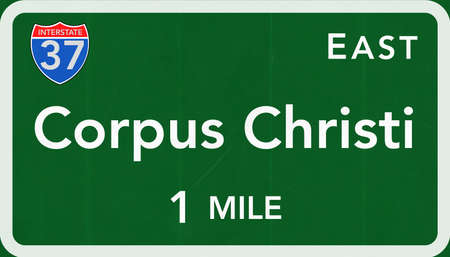interstate: Corpus Christi USA Interstate Highway Sign Photorealistic Illustration