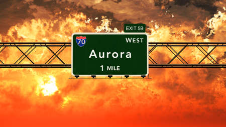 aurora: Aurora USA Interstate Highway Sign in a Beautiful Cloudy Sunset Sunrise Photorealistic 3D Illustration