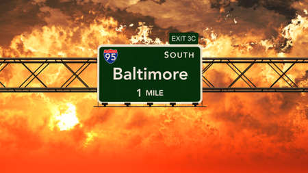 baltimore: Baltimore USA Interstate Highway Sign in a Beautiful Cloudy Sunset Sunrise Photorealistic 3D Illustration Stock Photo