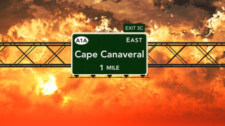 cape canaveral: Cape Canaveral USA Interstate Highway Sign in a Beautiful Cloudy Sunset Sunrise Photorealistic 3D Illustration