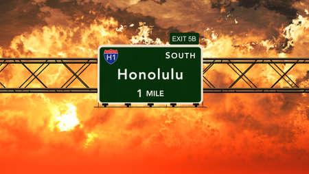 honolulu: Honolulu USA Interstate Highway Sign in a Beautiful Cloudy Sunset Sunrise Photorealistic 3D Illustration