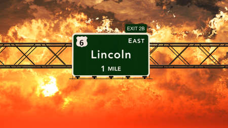 lincoln: Lincoln USA Interstate Highway Sign in a Beautiful Cloudy Sunset Sunrise Photorealistic 3D Illustration