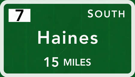interstate: Haines USA Interstate Highway Sign Photorealistic Illustration